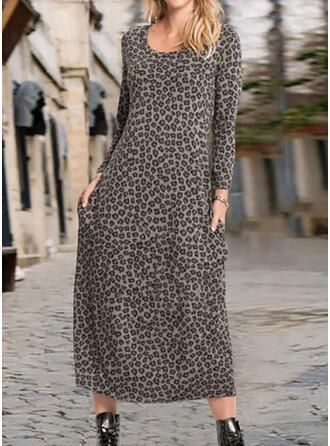 Leopard Lange Ärmel Shift Tunika Freizeit Midi Kleider
