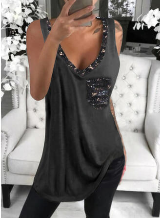 Sequins Solid V-Neck Sleeveless Tank Tops