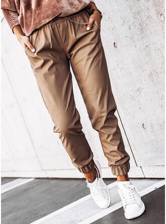 Solid PU Long Casual Plus Size Pocket Shirred Drawstring Pants