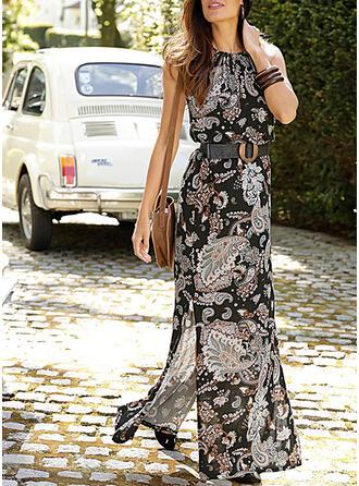 Print/Floral Sleeveless A-line Skater Casual/Boho Maxi Dresses