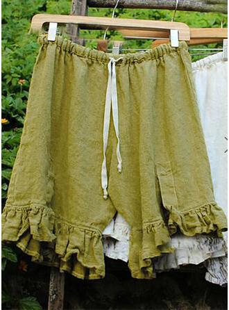 Einfarbig Shirred Übergröße Knielang Boho Lässige Kleidung Stammes Kurze Hose