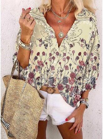 Print Floral V-Neck Long Sleeves Casual Shirt Blouses