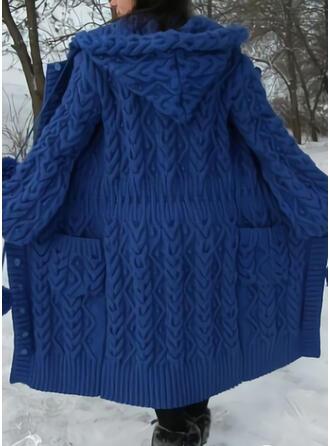 Einfarbig Zopfmuster Taschen Mit Kapuze Freizeit Lang Strickjacken