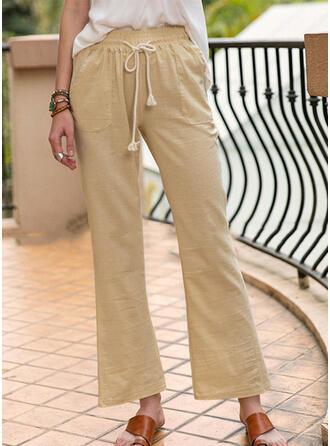 Einfarbig Shirred Kordelzug Lange Lässige Kleidung Einfach Hosen
