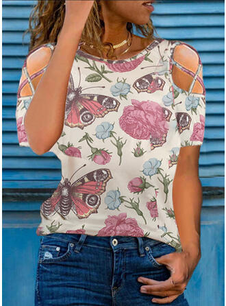 Floral Print Butterfly Cold Shoulder Short Sleeves T-shirts