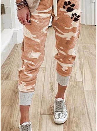 Animal Print Camouflage Drawstring Casual Sporty Pants Lounge Pants
