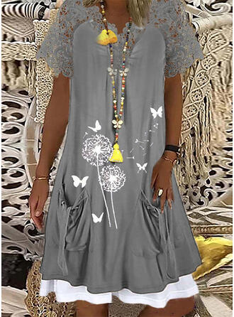 Print Lace Short Sleeves Shift Knee Length Casual Tunic Dresses