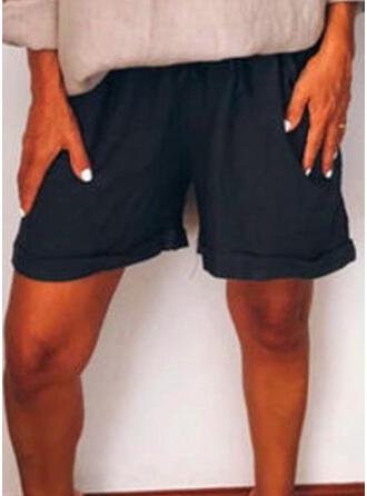 Taschen Shirred Übergröße Über dem Knie Boho Lässige Kleidung Kurze Hose