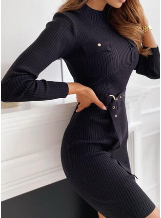 Solid Stand Collar Casual Long Tight Sweater Dress