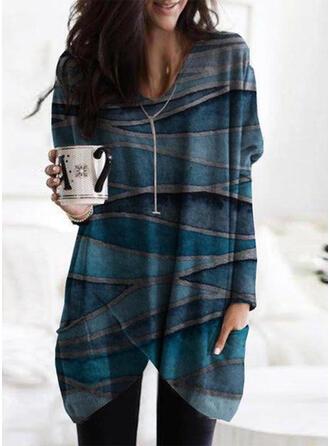 Drucken V-Ausschnitt Lange Ärmel Pullover