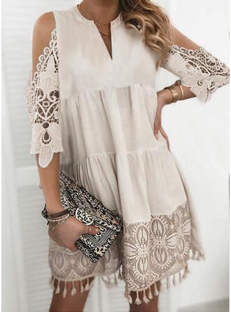 Lace/Solid/Tassel 3/4 Sleeves Shift Above Knee Casual Tunic Dresses