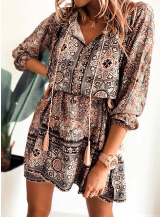 Print 3/4 Sleeves A-line Above Knee Casual/Boho/Vacation Skater Dresses
