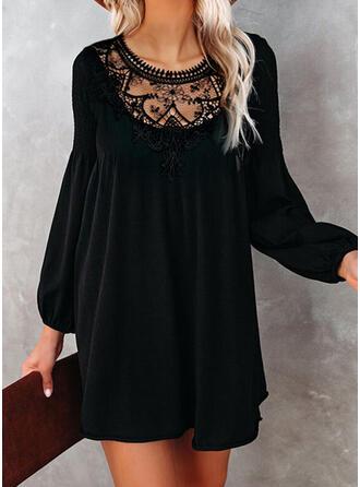 Lace/Solid Long Sleeves/Lantern Sleeve Shift Above Knee Little Black/Elegant Tunic Dresses