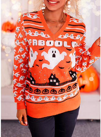 Halloween Print Letter V-Neck Casual Sweaters