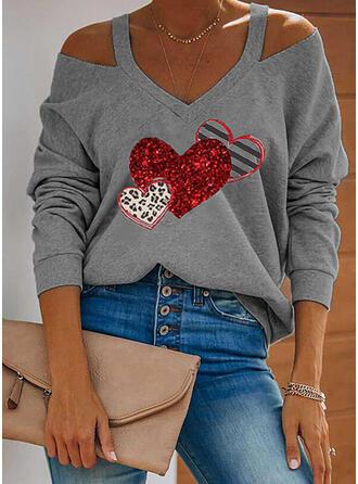 Print Striped Leopard Heart Cold Shoulder Long Sleeves Cold Shoulder Sleeve Casual Blouses