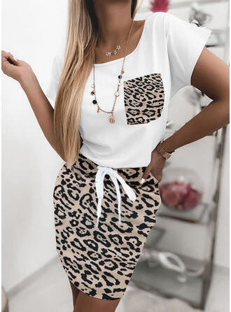 Leopard Short Sleeves Bodycon Above Knee Casual Dresses