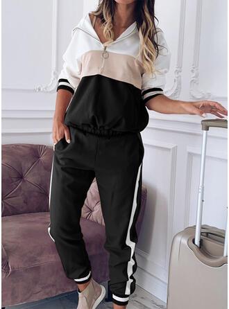 gestreift Shirred Übergröße Lange Lässige Kleidung Sportlich Hosen