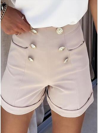 Solid Shirred Casual Solid Shorts