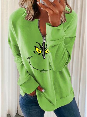 Halloween Print V-Neck Long Sleeves Sweatshirt