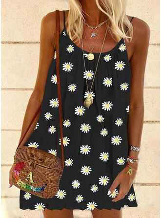 Print/Floral Sleeveless Shift Above Knee Casual Slip Dresses