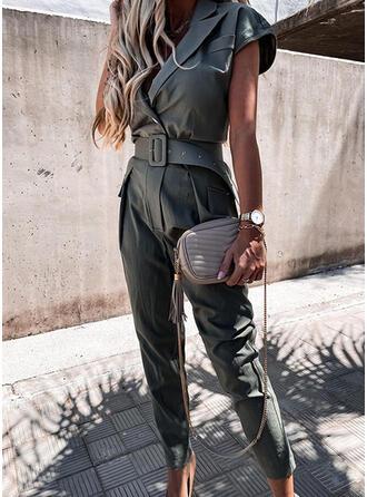 Solid Suit Collar Short Sleeves Casual Elegant Jumpsuit