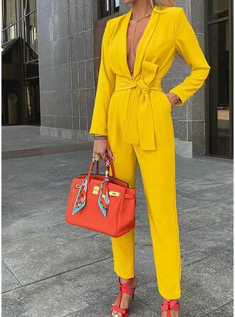 Einfarbig V-Ausschnitt Lange Ärmel Lässige Kleidung Elegant Overall
