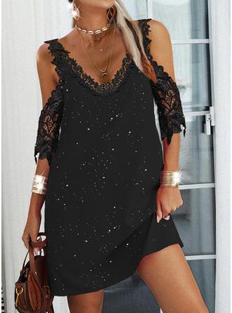 Print Lace 1/2 Sleeves Cold Shoulder Sleeve Shift Above Knee Elegant Dresses