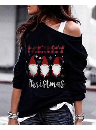 Print Grid Figure One Shoulder Long Sleeves Christmas Sweatshirt