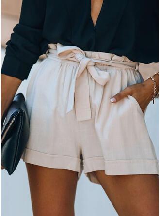 Shirred Bowknot Elegant Shorts