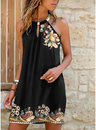 Print/Floral Sleeveless Shift Above Knee Casual Dresses