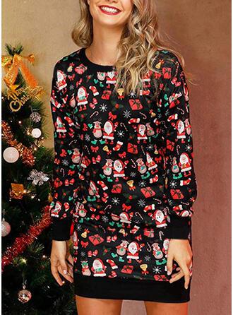 Druck Lange Ärmel Shift Über dem Knie Weihnachten/Freizeit Kleider