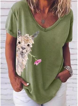 Animal Print Floral V-Neck Short Sleeves T-shirts