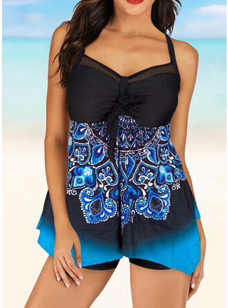 Floral V-Neck Amazing Tankinis Swimsuits