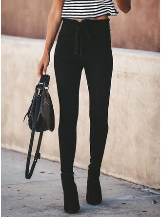 Einfarbig Shirred Bowknot Elegant Dünn Denim Jeans
