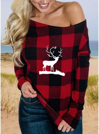 Animal-Print Eine-Schulter Lange Ärmel Freizeit Weihnachten Blusen
