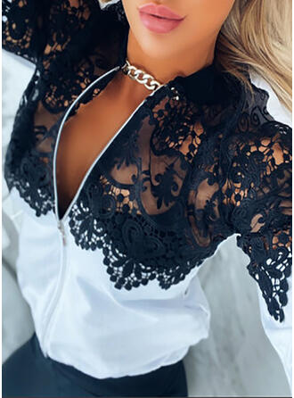 Lace Long Sleeves Solid Jackets
