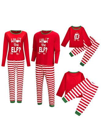 Schreiben Gestreift Drucken Passende Familie Christmas Pajamas