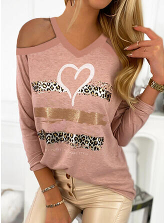Print Leopard Heart Cold Shoulder Long Sleeves Casual Valentine's Day Blouses