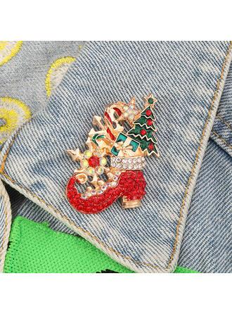 Glänzende Weihnachten Legierung mit Strass Mode-Broschen