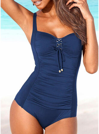 Solid Color Strap U-Neck Sexy One-piece Swimsuits