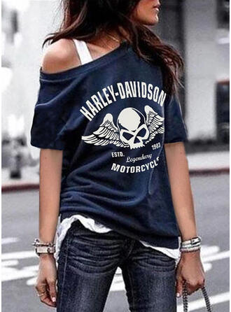 Figure Print Round Neck 1/2 Sleeves T-shirts