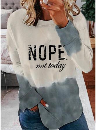 Print Gradient Letter Round Neck Long Sleeves Sweatshirt