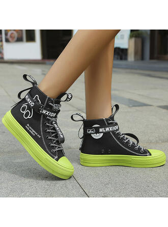 Women's Canvas Flat Heel Martin Boots Round Toe With Lace-up shoes