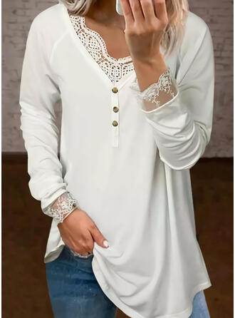 Solid Lace V-Neck Long Sleeves Raglan Sleeve Casual Blouses
