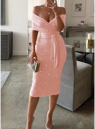 Solid/Beaded Short Sleeves Bodycon Pencil Party/Elegant Midi Dresses