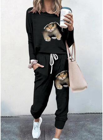 Print Animal Casual Sporty Plus Size Drawstring Pants Two-Piece Outfits