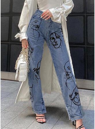 Print Denim Long Casual Pocket Denim & Jeans