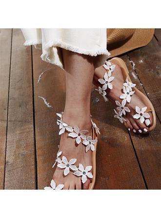 Women's PU Flat Heel Sandals Peep Toe Slippers Round Toe With Applique shoes
