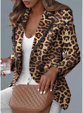 Long Sleeves Leopard Blazers