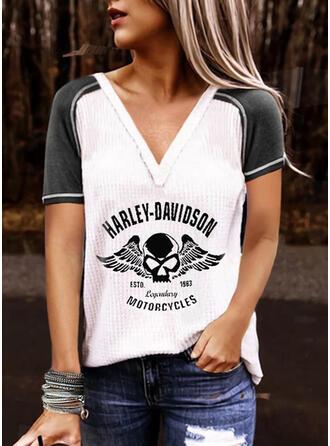 Color Block Figure Print V-Neck Short Sleeves T-shirts